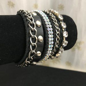 Black Leather rhinestone wrap bracelet.